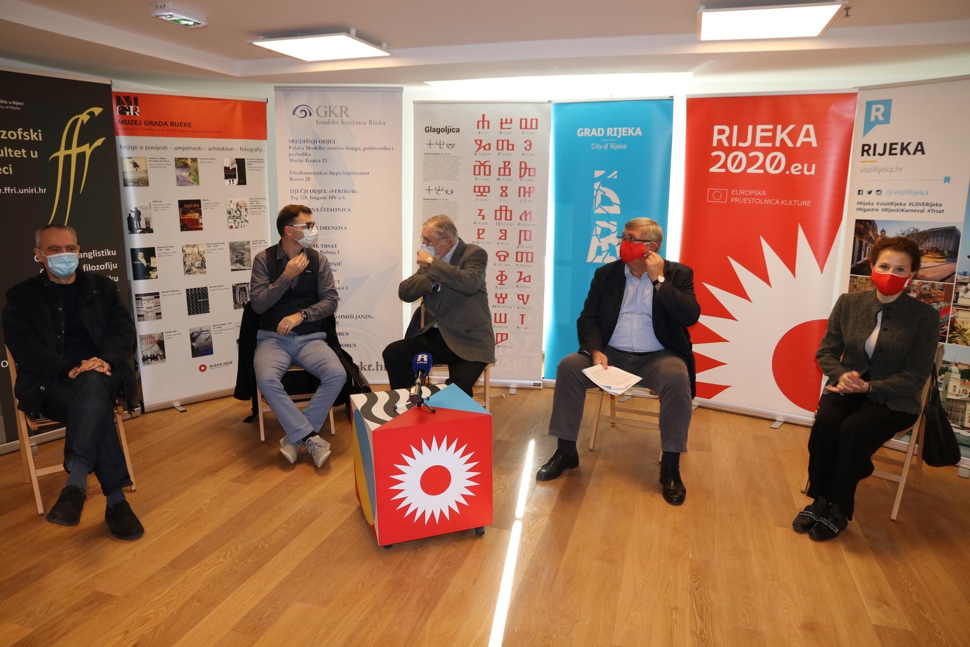 Velid Đekić, Niko Cvjetković, Srećko Jelušić, Vojko Obersnel i Irena Kregar Šegota na konferenciji za medije
