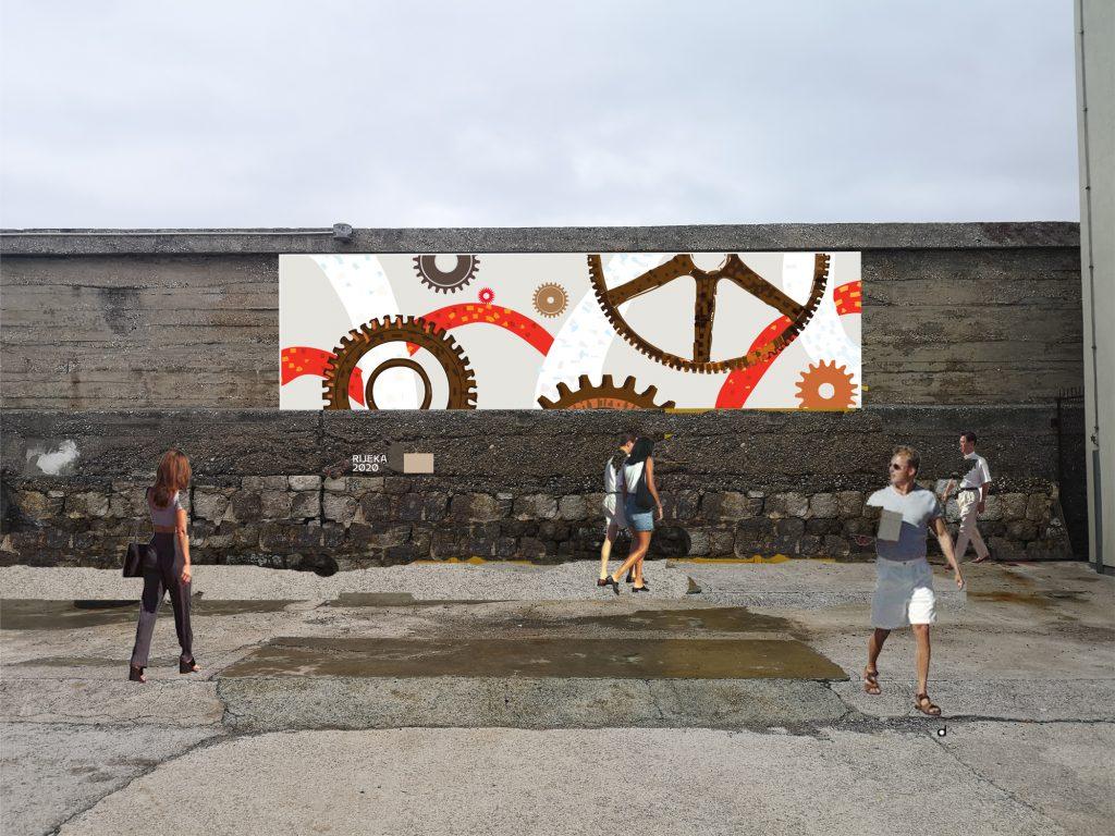 Vizualizacija volonterskog mozaika na Molo longo